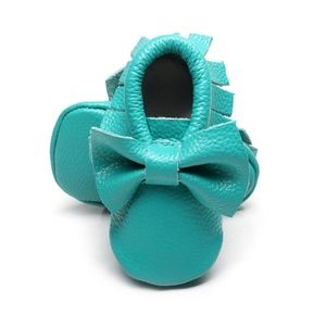 Other - 🎡SALE Soft Turquoise Leather Bow baby moccasins